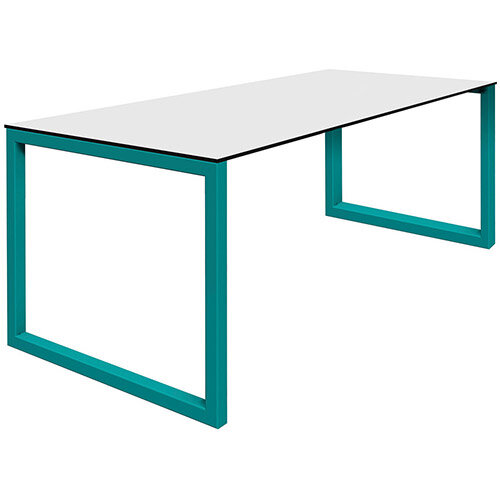 Frovi BLOCK STEEL Outdoor White Top &Black Edge Bench Table With Hoop Leg Frame W2200xD800xH730mm