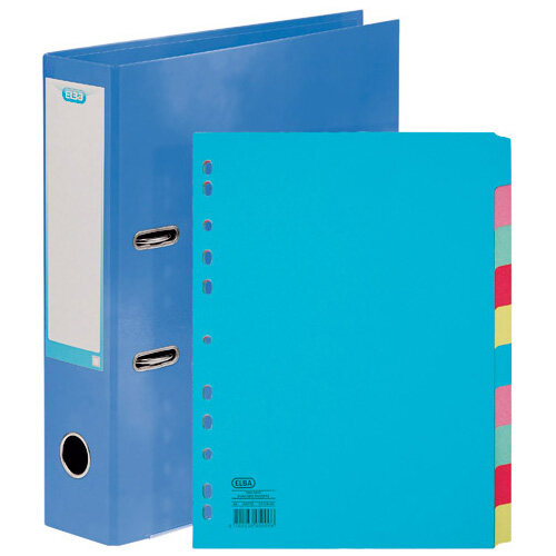 Elba Classy 70mm Lever Arch File A4 Met Blue FOC 10/Pt Divider