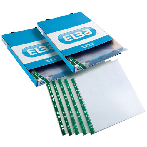 Elba Clear Punch Pocket A4 Green Pack of 100 2 For 1 BX810443