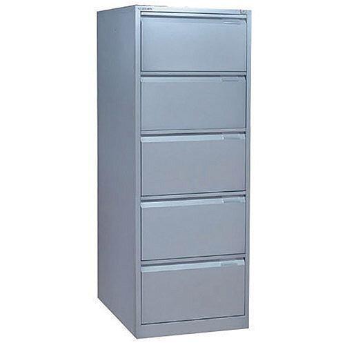 Bisley 5-Drawer Filing Cabinet Lockable Goose Grey Flush Fronted BS5E