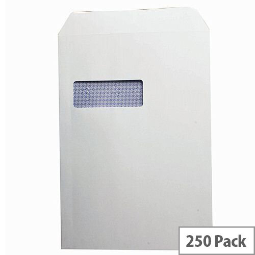 Q-Connect Envelope C4 100gsm Window Peel and Seal White (Pack of 250)