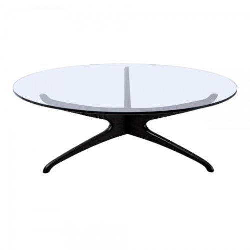 Noguchi Style Circular Glass Coffee Table with Black Ash Base