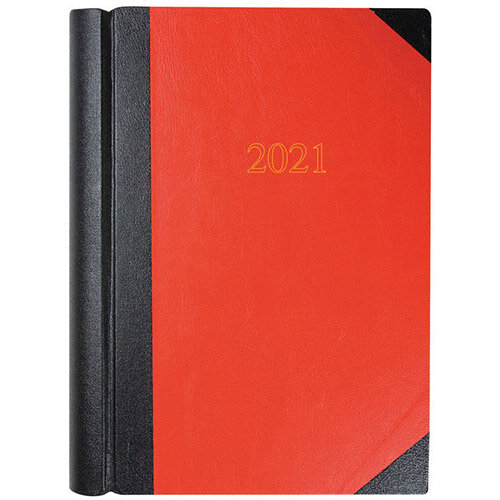 Collins 2021 A4 Desk Diary 2 Pages Per Day Black/Red 42