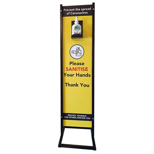 Hand Sanitizer Stand Powder Coated 1100mmx300mm Shelf option
