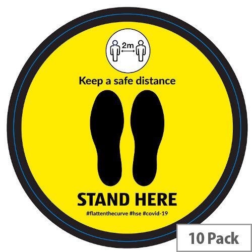 Stand Here Keep A safe Distance Circle Floor Vinyl 420mm Pack 10