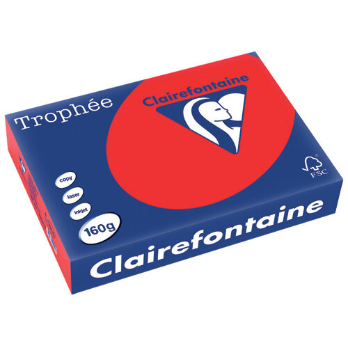 Trophee Card A4 160gm Coral Red Pack of 250 1004C