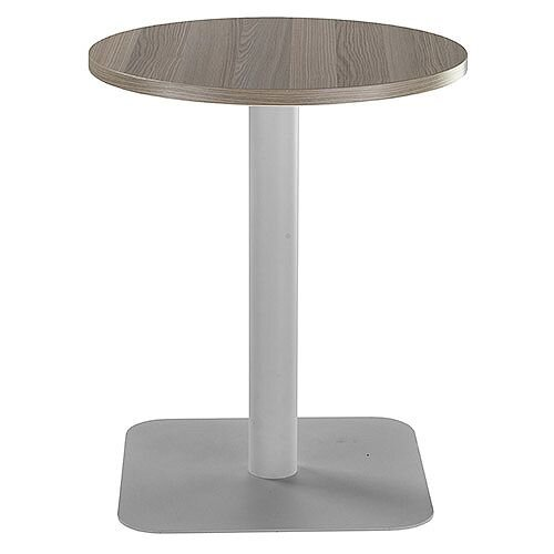 ONE Circular Cafe &Bistro Table Dark Walnut With Silver Square Base W600xD600xH725mm