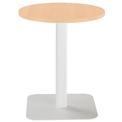 ONE Circular Cafe &Bistro Table Beech With White Square Base W600xD600xH725mm