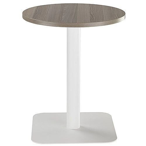 ONE Circular Cafe &Bistro Table Dark Walnut With White Square Base W600xD600xH725mm
