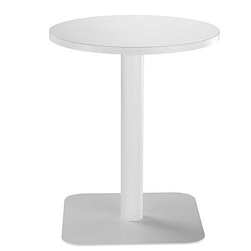 ONE Circular Cafe &Bistro Table White With White Square Base W600xD600xH725mm