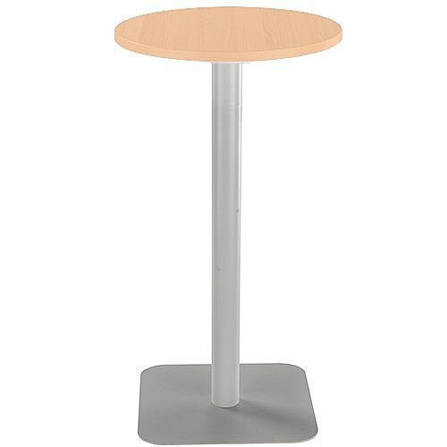 ONE Circular High Cafe &Bistro Table Beech With Silver Square Base W600xD600xH1105mm