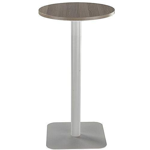 ONE Circular High Cafe &Bistro Table Dark Walnut With Silver Square Base W600xD600xH1105mm