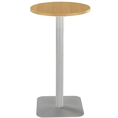 ONE Circular High Cafe &Bistro Table Oak With Silver Square Base W600xD600xH1105mm