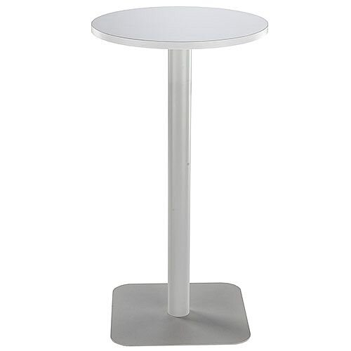 ONE Circular High Cafe &Bistro Table White With Silver Square Base W600xD600xH1105mm