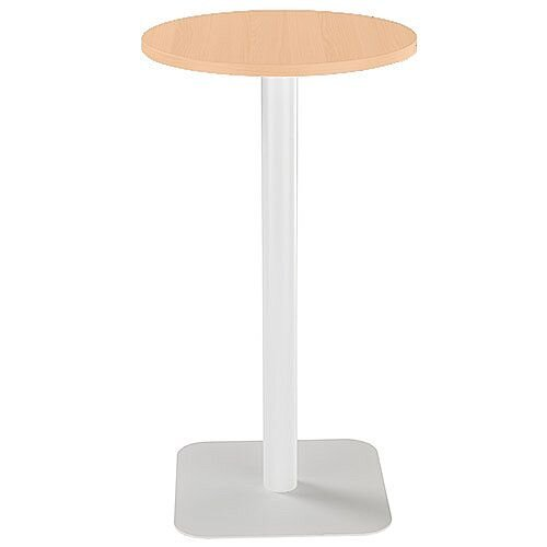 ONE Circular High Cafe &Bistro Table Beech With White Square Base W600xD600xH1105mm