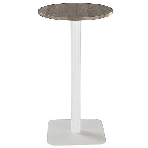 ONE Circular High Cafe &Bistro Table Dark Walnut With White Square Base W600xD600xH1105mm