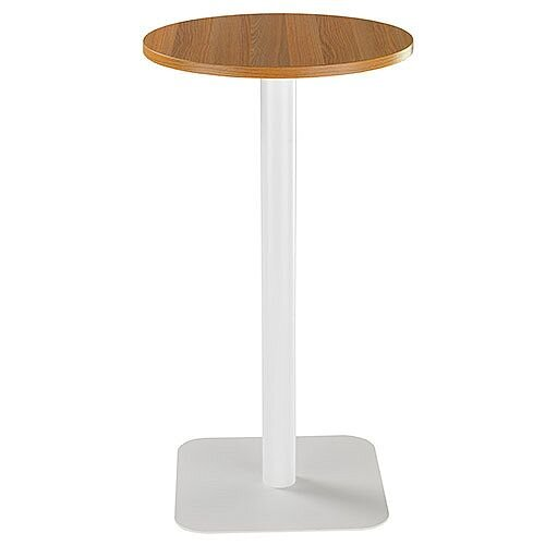 ONE Circular High Cafe &Bistro Table Light Walnut With White Square Base W600xD600xH1105mm