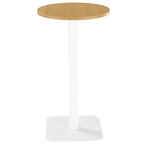 ONE Circular High Cafe &Bistro Table Oak With White Square Base W600xD600xH1105mm