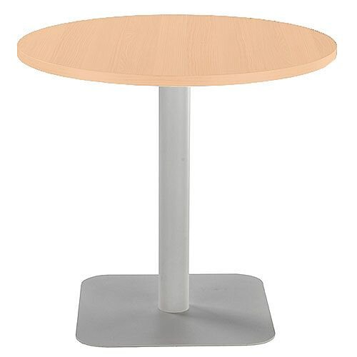 ONE Circular Cafe &Bistro Table Beech With Silver Square Base W800xD800xH725mm