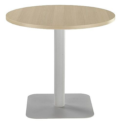ONE Circular Cafe &Bistro Table Grey Oak With Silver Square Base W800xD800xH725mm