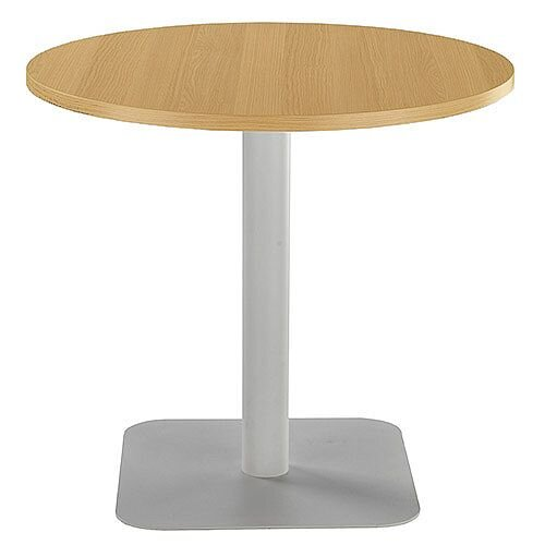 ONE Circular Cafe &Bistro Table Oak With Silver Square Base W800xD800xH725mm