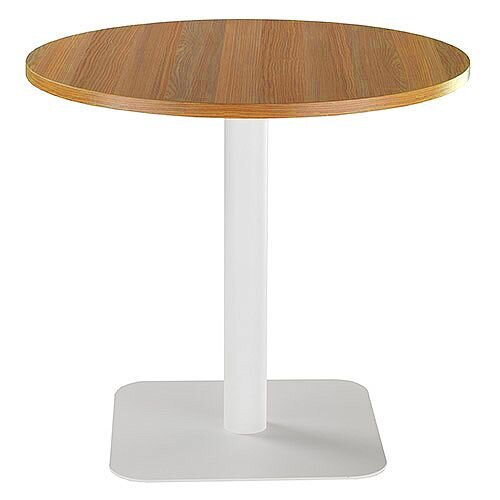 ONE Circular Cafe &Bistro Table Light Walnut With White Square Base W800xD800xH725mm