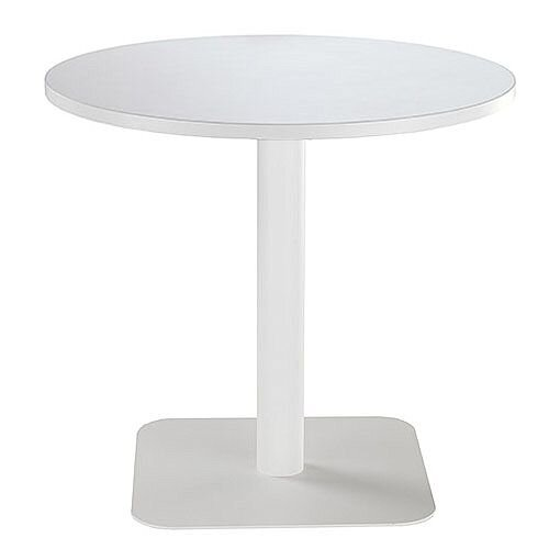 ONE Circular Cafe &Bistro Table White With White Square Base W800xD800xH725mm