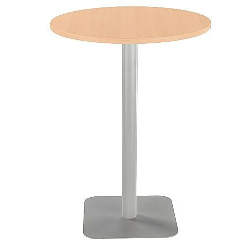 ONE Circular High Cafe &Bistro Table Beech With Silver Square Base W800xD800xH1105mm