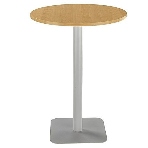 ONE Circular High Cafe &Bistro Table Oak With Silver Square Base W800xD800xH1105mm