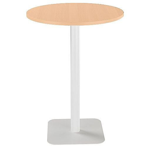 ONE Circular High Cafe &Bistro Table Beech With White Square Base W800xD800xH1105mm