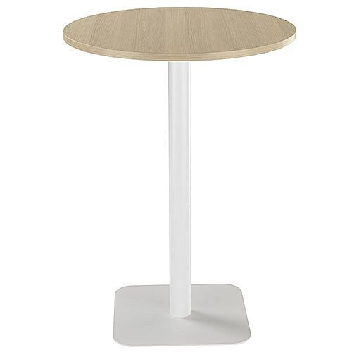 ONE Circular High Cafe &Bistro Table Grey Oak With White Square Base W800xD800xH1105mm