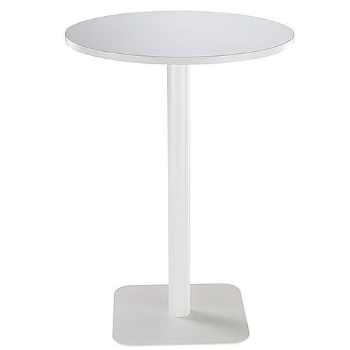 ONE Circular High Cafe &Bistro Table White With White Square Base W800xD800xH1105mm