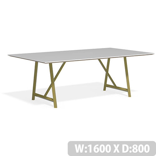 Frovi RELIC Bench Table With Vintage Brass Frame W1600xD800xH750mm