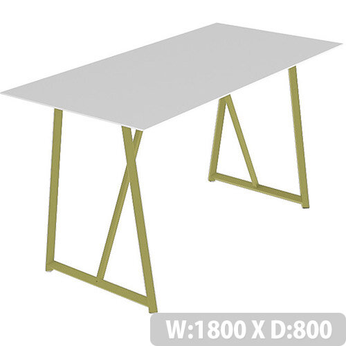 Frovi RELIC Poseur Bench Table With Vintage Brass Frame W1800xD800xH1050mm