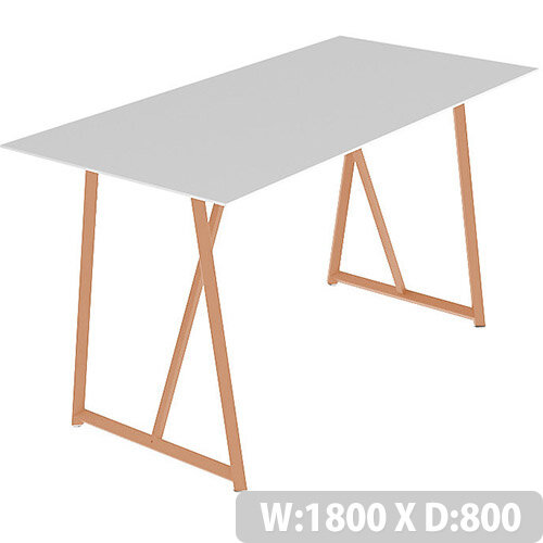 Frovi RELIC Poseur Bench Table With Vintage Copper Frame W1800xD800xH1050mm