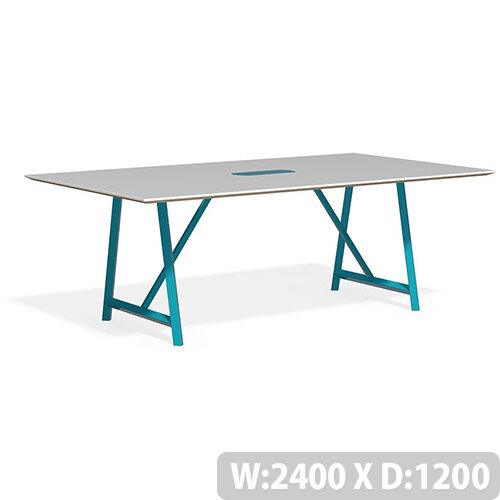 Frovi RELIC Bench Table With Power Module &Painted Steel Frame W2400xD1200xH750mm