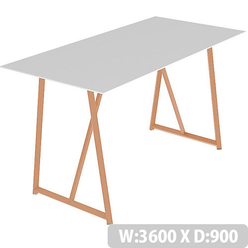 Frovi RELIC Poseur Bench Table With Vintage Copper Frame W3600xD900xH1050mm