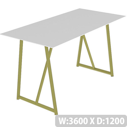 Frovi RELIC Poseur Bench Table With Vintage Brass Frame W3600xD1200xH1050mm