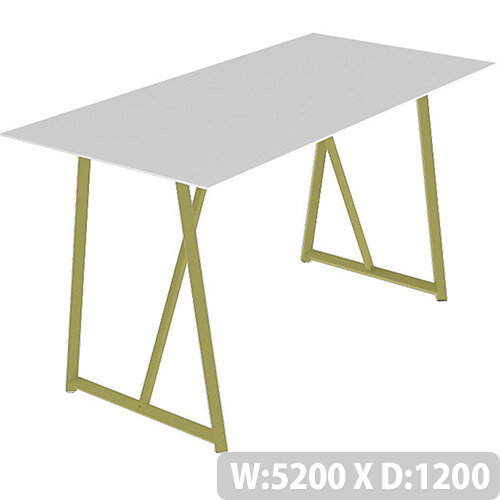 Frovi RELIC Poseur Bench Table With Vintage Brass Frame W5200xD1200xH1050mm