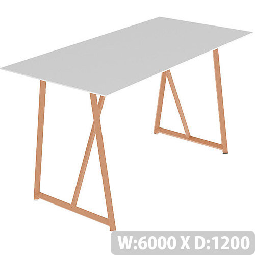 Frovi RELIC Poseur Bench Table With Vintage Copper Frame W6000xD1200xH1050mm