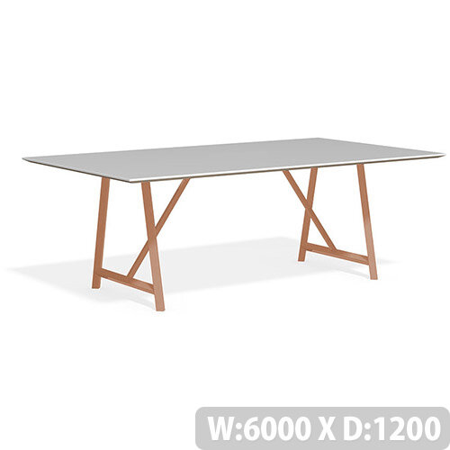 Frovi RELIC Bench Table With Vintage Copper Frame W6000xD1200xH750mm