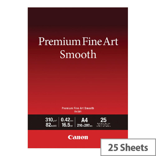 Canon Premium Fine Art Smooth A4 Paper 25 Pack 1711C001