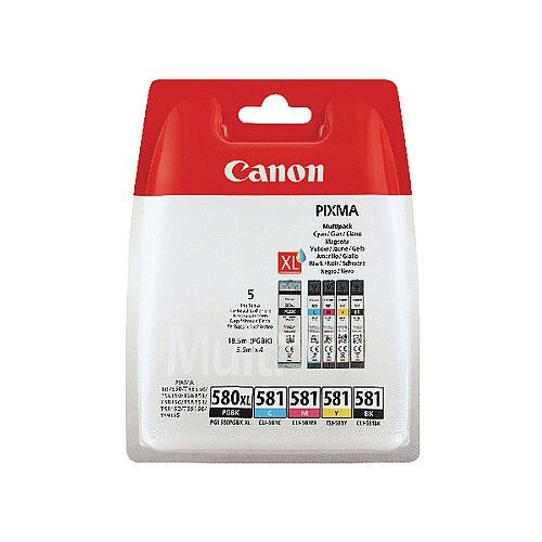 Canon PGI-580/CLI-581 Pigment Black/Cyan/Magenta/Yellow/Black Ink Multi Pack 2078C05