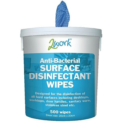 2Work Disinfectant Surface Wipes Buckcet of 500 Cleaning Wipes (Pack of 1) EBSD500 VECO500
