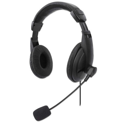 Manhattan Stereo USB Headset Lightweight Over-ear Design, Wired, USB-A Plug, Integrated Controls, Adjustable Microphone - Ideal for Skype Calls, Multimedia, Games - Black