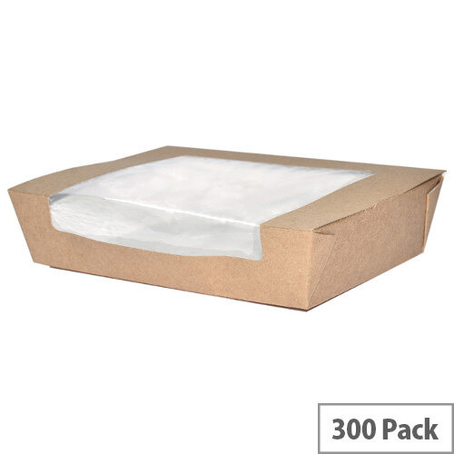 32oz Large Disposable Cardboard Salad Boxes With Window Pack of 300
