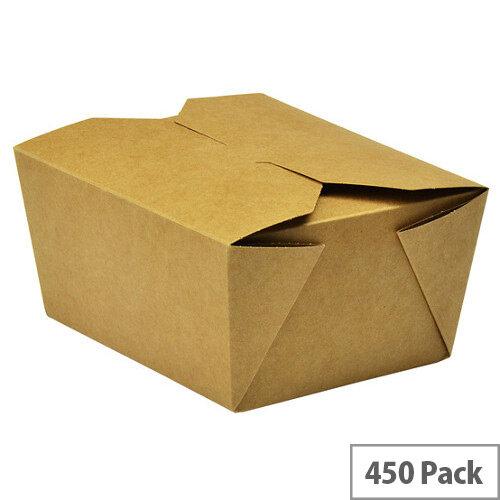 No.1 Disposable Brown Kraft Food Cartons 700ml 11x9x6.5cm Pack of 450
