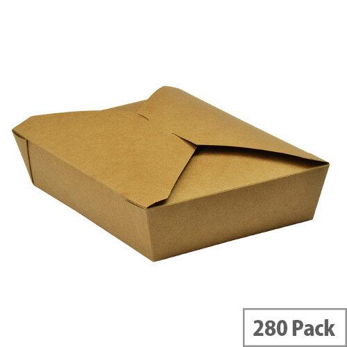 No. 2 Disposable Brown Kraft Food Cartons 1500ml 19.5x14x5cm Pack of 280