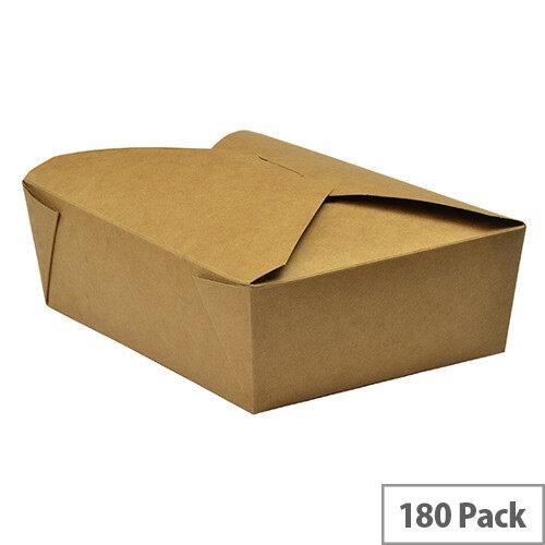 No. 3 Disposable Brown Kraft Food Cartons 1800ml 19.5x14x6.5cm Pack of 180