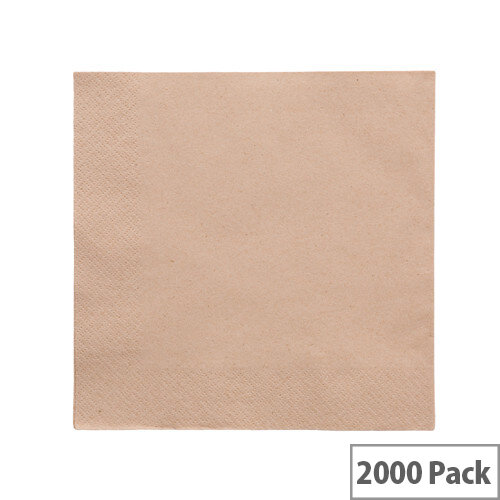 Recycled 40x40cm Unbleached 2-Ply Disposable Napkins Brown Pack of 2000